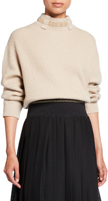 Brunello Cucinelli Belt Loop Monili Mock-Neck Cashmere Sweater