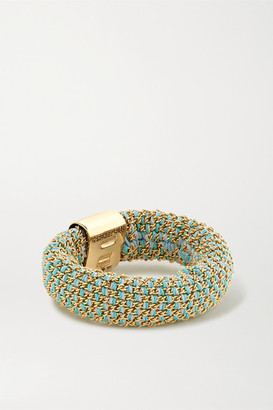 Carolina Bucci Slide 18-karat Gold And Silk Ring - Light blue