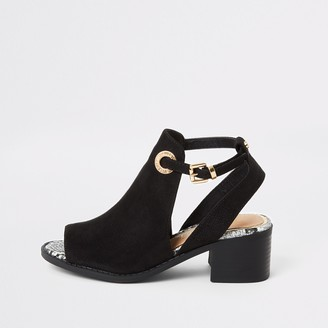 River Island Girls Black cut out shoeboot