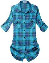 OCHENTA Women's Mid Long Style Roll Up Sleeve Plaid Flannel Shirt Label 4XL - US L+