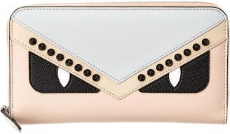 Fendi Monster Leather Zip Around Wallet