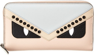 Fendi Monster Leather Zip Around Wallet