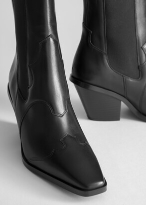 And other stories Square Toe Leather Cowboy Boots