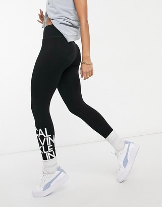 Calvin Klein high waisted logo leggings black