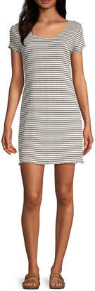 Arizona Short Sleeve Striped T-Shirt Dresses - Juniors
