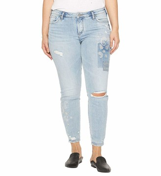 Silver Jeans Co. Women's Plus Size Aiko Ankle Skinny Jean with Paisley Embroidery