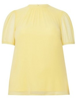 Dorothy Perkins Womens Billie & Blossom Curve Lemon Puff Sleeve Shell Top