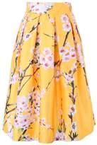 MF@ Women's Pleated Vintage Skirts Floral Print Sakura Skater Pleated A-line Skirt (L, )