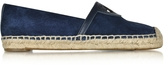 Tory Burch Sidney Royal Navy Suede and Leather Flat Espadrille