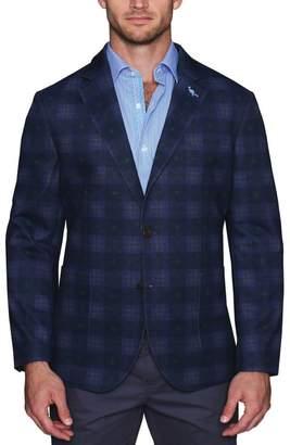 Tailorbyrd Plaid Print Stretch Jersey Knit Two Button Notch Lapel Modern Fit Sport Coat