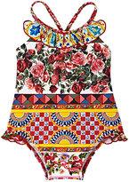 "Dolce & Gabbana Ruffle-Detailed ""Mambo""-Print Tank Swimsuit"