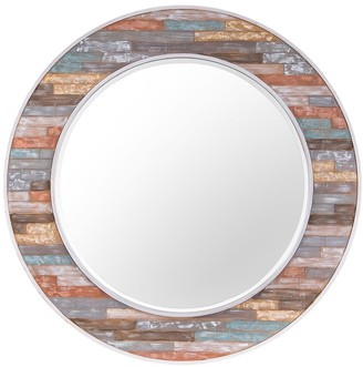 Varaluz Colorful Waxed Plank Large Circular Wood Mirror - Pastel Multi