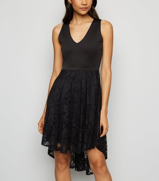 New Look Mela Lace Overlay Dip Hem Dress
