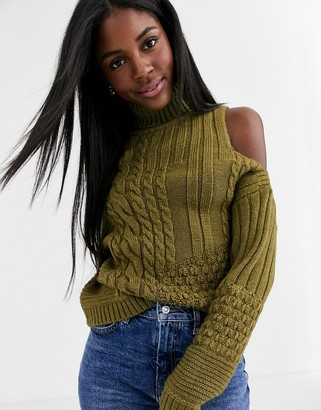 Asos DESIGN cold shoulder cable sweater