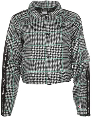 Champion Cropped Coaches Jacket - Houndstooth All Over Print (Exploded Houndstooth Chalk White) Women's Clothing