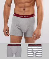 Jack Wills Chetwood 2 Pack Stripe Trunks In White & Grey