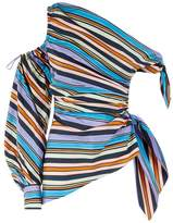 Peter Pilotto One-Shoulder Asymmetric Striped Top