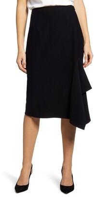 Ming Wang Asymmetrical Ruffle Hem Skirt