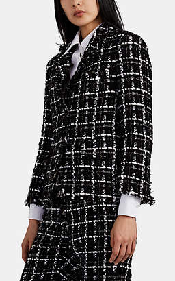 Thom Browne Women's Metallic-Checked Tweed Blazer - Black
