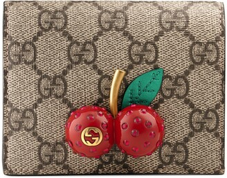 Gucci GG Supreme card case wallet with cherries