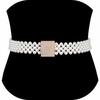 Dubulle Pearl Wedding Belt Beaded Bridal Belt Applique Bridesmaid Sash Belt for Women Dress & Gown