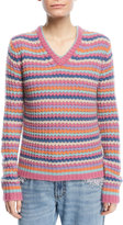 Marc Jacobs Striped V-Neck Cashmere Sweater
