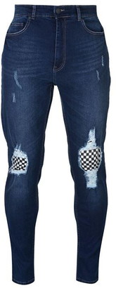 No Fear Check Knee Jeans Mens