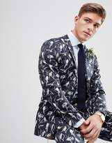 Jack and Jones Slim Suit Jacket With All Over Print