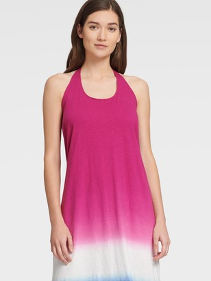 DKNY Women's Dip Dye Sleeveless Maxi Dress - Fiesta Pink/Electric Blue - Size XS