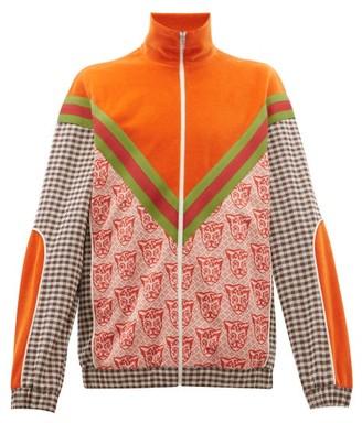 Gucci Houndstooth Cat-print Cotton-blend Track Jacket - Mens - Orange Multi