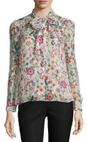 RED Valentino Button-Front Tie-Neck Floral-Print Blouse, Ivory
