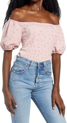 WAYF Orpheum Floral Print Off the Shoulder Top