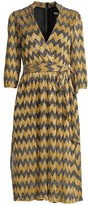 Alice + Olivia Katina Chevron Stripe Metallic Wrap Midi Dress