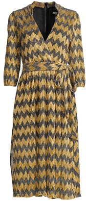Alice + Olivia Katina Chevron Stripe Metallic Wrap Midi Dress