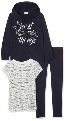 MEK Girl's Completo 3 Pezzi: Top Felpa E Leggings E T-Shirt Clothing Set