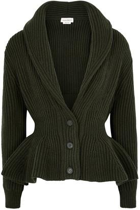 Alexander McQueen Dark Green Peplum Wool-blend Cardigan