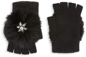 Glamour Puss Glamourpuss Embellished Fox Fur-Pompom Fingerless Gloves