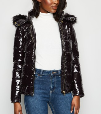 New Look Cameo Rose Patent Faux Fur Puffer Jacket