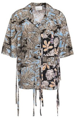 3.1 Phillip Lim Silk Crepe-paneled Draped Printed Woven Shirt