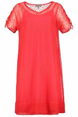Ulla Popken Women's Plus Size Modern Swiss Dot Layered Dress Fire Red 24 721976 67-50