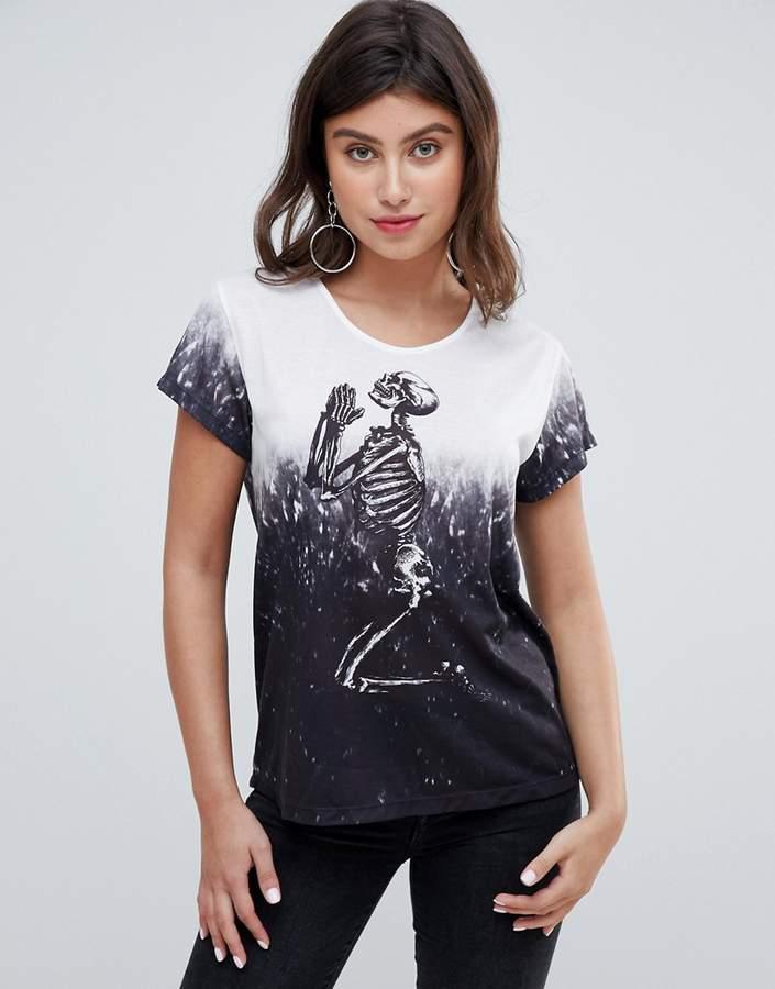 Religion praying skeleton dip dye oversized t-shirt