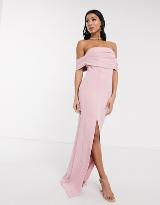Yaura column maxi dress with pleat off shoulder detail in blush