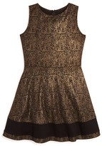 Aqua Girls' Foil Print Ponte Knit Dress - Sizes S-XL