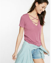 Express strappy front v-neck skimming tee
