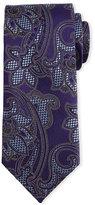 Ermenegildo Zegna Basketweave Paisley-Print Silk Tie, Purple