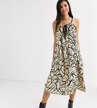 Another Reason volume midi dress with drawstring detail in abstract print