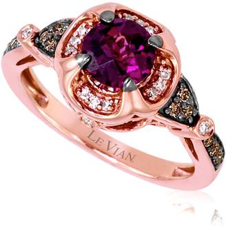LeVian Le Vian 14K Rose Gold 1.16 Ct. Tw. Diamond & Rhodolite Ring