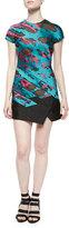 J. Mendel Short-Sleeve Panel-Skirt Dress