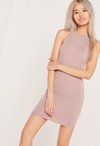 Missguided Rib Detail Sleeveless Mini Dress Lilac