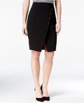 Amy Byer Juniors' Asymmetrical Button-Trim Pencil Skirt